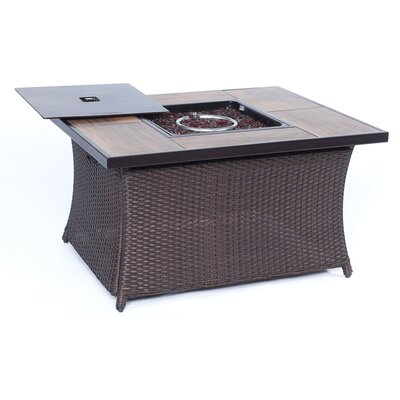 Resin Propane Fire Pit Table WOVENFP1PC-WDGRN
