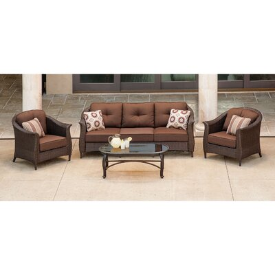 Barrell 4 Piece Deep Seating Group with Cushion