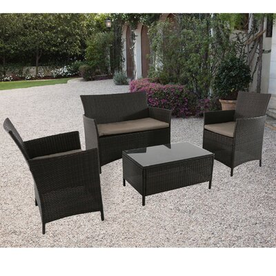 Brookview 4 Piece Deep Seating Group with Cushion