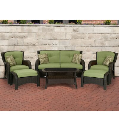 Barrand 6 Piece Lounge Seating Group with Cushion Fabric: Green