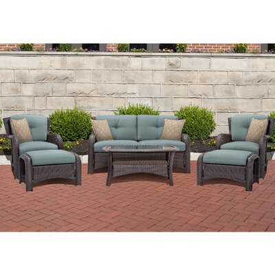 Barrand 6 Piece Lounge Seating Group with Cushion Fabric: Blue