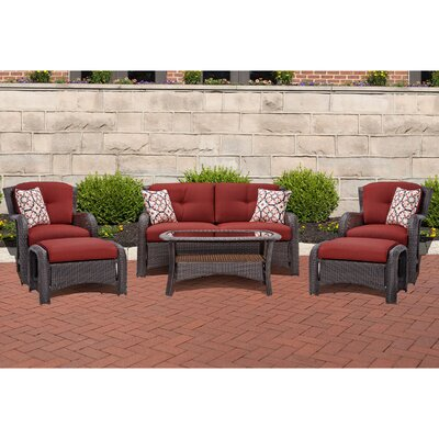 Barrand 6 Piece Lounge Seating Group with Cushion Fabric: Red