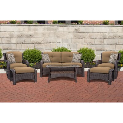 Corolla 6 Piece Lounge Seating Group with Cushion Fabric: Tan