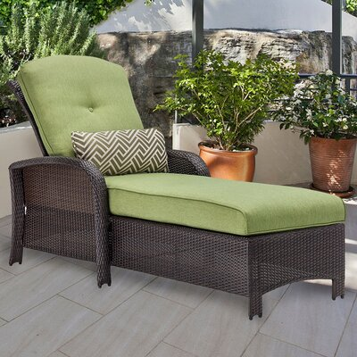 Barrand Chaise Lounge with Cushion Fabric: Green