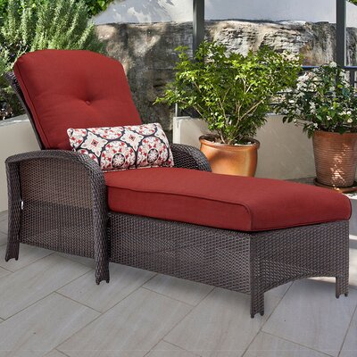 Barrand Chaise Lounge with Cushion Fabric: Red