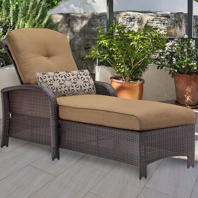 Barrand Chaise Lounge with Cushion Fabric: Tan