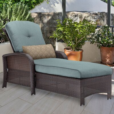 Corolla Chaise Lounge with Cushion Fabric: Blue