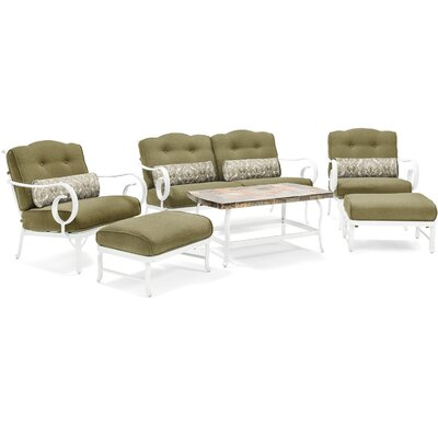 Willow Patio 10 Piece Deep Seating Group with Cushion Fabric: Green