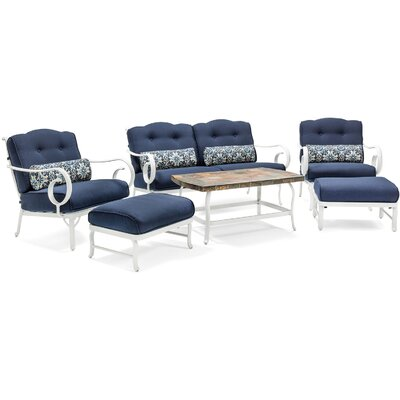 Willow Patio 10 Piece Deep Seating Group with Cushion Fabric: Navy