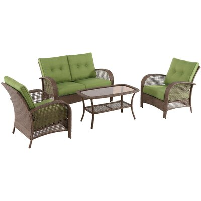 Annagrove Steel Wicker 4 Piece Deep Seating Group with Cushion