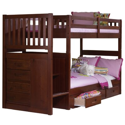 Elliott Twin Over Twin Staircase Slat Bunk Bed