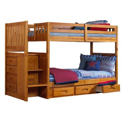 Edmond Twin Slat Bunk Bed with Slide-Out Trundle