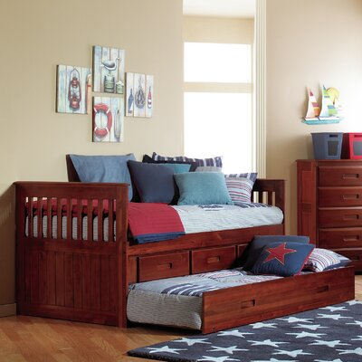 Efren Traditional Twin Slat Bed with Trundle and Storage