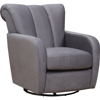 Rogerson Swivel Wingback Chair Upholstery: Gray