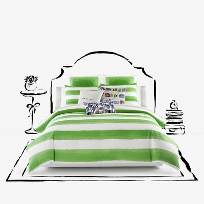 Rugby Stripe 3 Piece Comforter Set Color: Green, Size: Twin