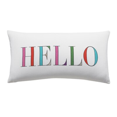 Hello 100% Cotton Lumbar Pillow