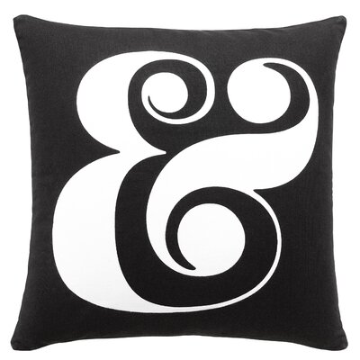 Ampersand Black 100% Cotton Throw Pillow