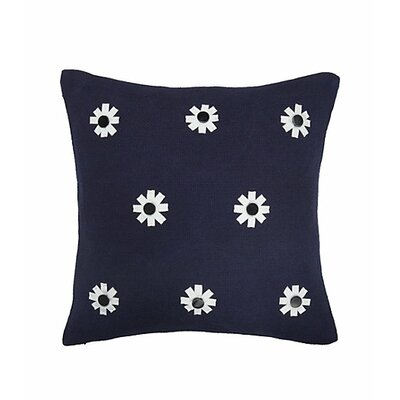 Flower 100% Cotton Throw Pillow Color: Navy Blue