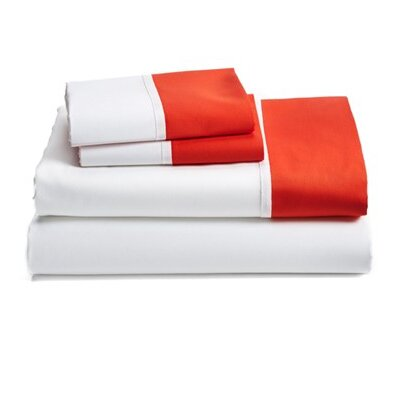 Grace 100% Cotton Pillowcase Size: 20 H x 40 W, Color: Orange
