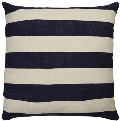 Double Stripe Throw Pillow Color: Blue/Ivory