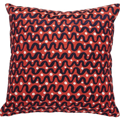 Waves Throw Pillow Color: Red/Black