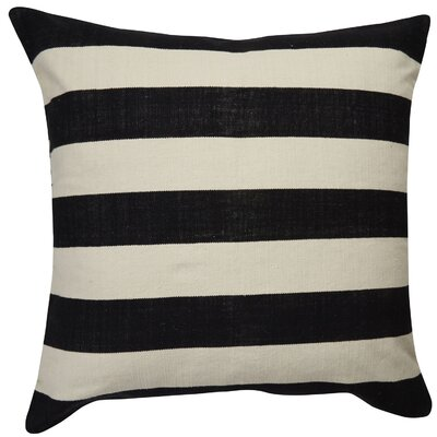 Double Throw Pillow Color: Ivory/Black, Size: 20 x 20