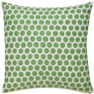 Embroidered Dot Throw Pillow Color: Green/Ivory