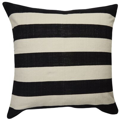 Double Stripe Throw Pillow Color: Ivory/Black