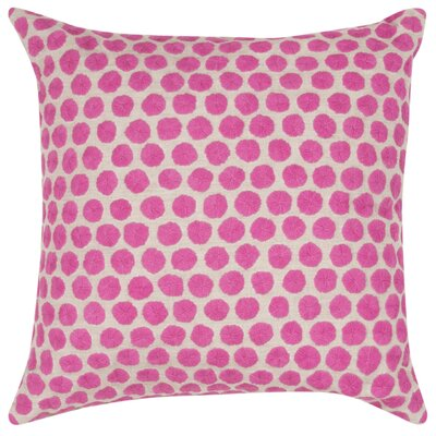 Embroidered Dot Throw Pillow Color: Pink/Tan