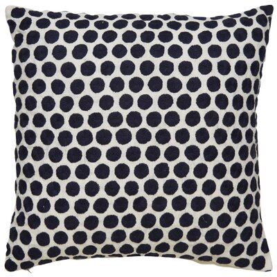 Embroidered Dot Throw Pillow Color: Blue/Ivory