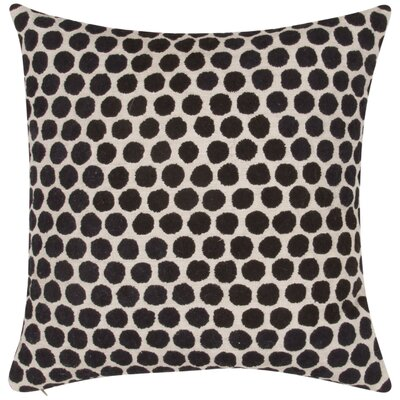 Embroidered Dot Throw Pillow Color: Ivory/Black