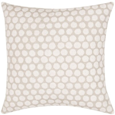 Embroidered Dot Throw Pillow Color: Ivory/Tan
