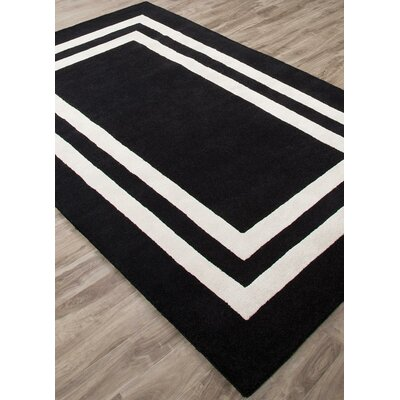 Gramercy Double Border Hand-Tufted Black/White Area Rug Rug Size: Rectangle 4 x 6