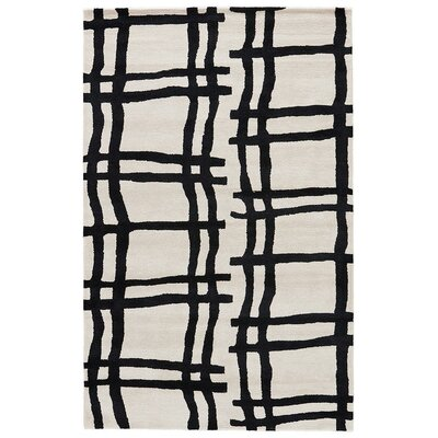 Gramercy Broken Plaid Hand-Tufted Black/White Area Rug Rug Size: Rectangle 9 x 12