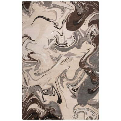 Noho Marble Hand-Knotted Brown/Cream Area Rug Rug Size: Rectangle 8 x 10