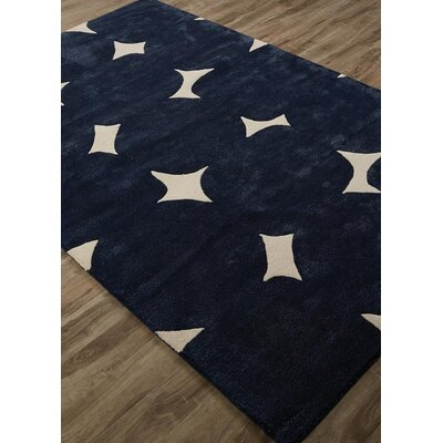 Gramercy Crazy Dot Hand-Tufted Navy/White Area Rug Rug Size: Rectangle 2 x 3