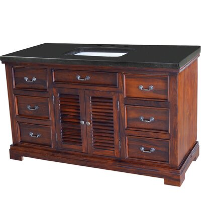 Flannagan 60 Single Bathroom Vanity Set Base Finish: Natural Teak