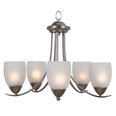 Ann 5-Light Shaded Chandelier Finish: Brushed Nickel