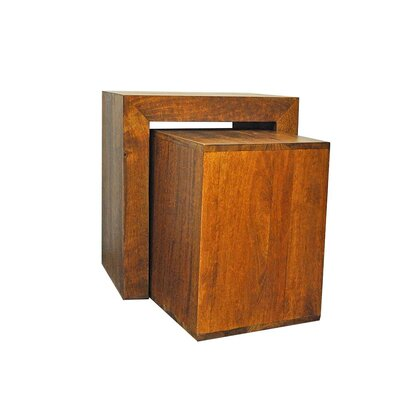 2 Piece Nesting Tables Color: Brown