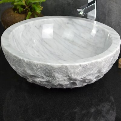 Ellie Carrera Marble Boulder Oval Vessel Bathroom Sink