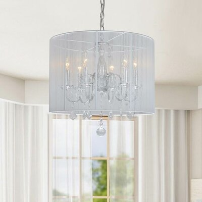 6-Light Drum Chandelier Color: Cream