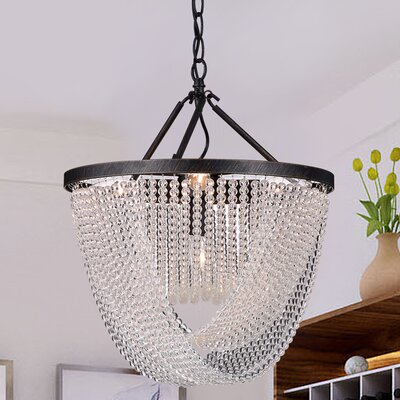 West Drive Iron and Glass Beads 6-Light Crystal Pendant