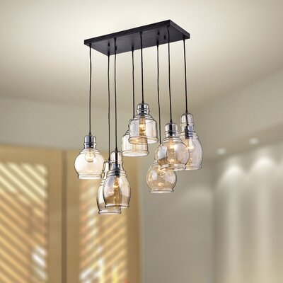 Mariana Cognac Glass 8-Light Cascade Pendant