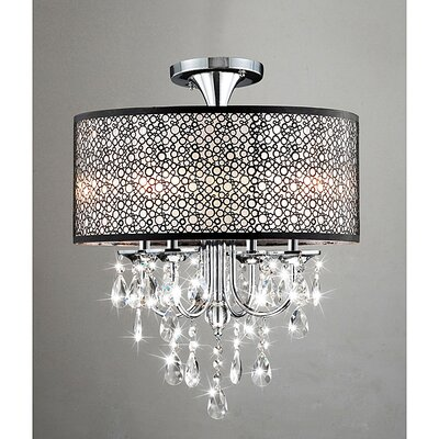Mckeen Bubble Shade 4-Light Semi Flush Mount