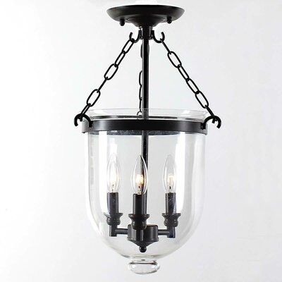 Glass Lantern 3-Light Semi Flush Mount