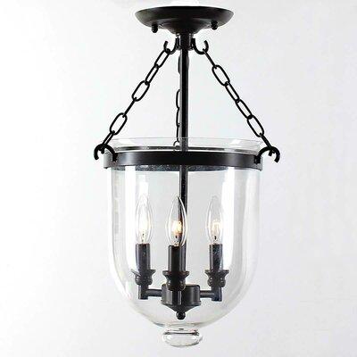 Fraise Glass Lantern 3-Light Semi Flush Mount