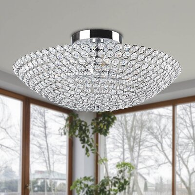 Mckellar 3-Light Bowl Shaped Crystal Semi Flush Mount