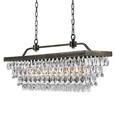 Rectangular Crystal 4-Light Kitchen Island Pendant