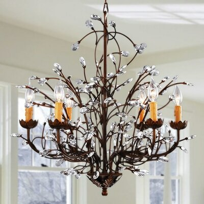 Crystal and Iron 6-Light Candle-Style Chandelier BC206