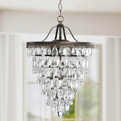 Conical 4-Light Crystal Chandelier Finish: Antique Brass
